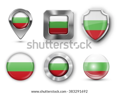 Bulgaria Metal and Glass Flag Badges, Buttons, Map marker pin and Shields. Vector illustrations