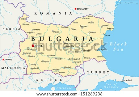 Bulgaria Political Map - Political map of Bulgaria with the capital Sofia, national borders, most important cities, rivers and lakes. Vector illustration with english labeling and scale. - stock vector