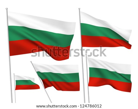 Bulgaria vector flags. A set of 5 wavy 3D flags created using gradient meshes. - stock vector