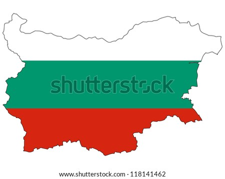 Bulgaria vector map with the flag inside.