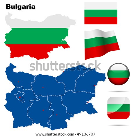 Bulgaria  vector set. Detailed country shape with region borders, flags and icons isolated on white background. - stock vector