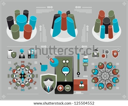 bulk and flat elements of infographics - stock vector