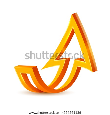 Bulk orange 3d arrow. Vector illustration - stock vector
