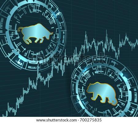 Bull Bear Symbols Price Chart Modern Stock Stock Vector 700275835
