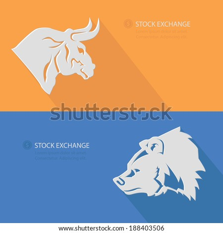Bull & Bear,Stock exchange concept,Blank for text,vector - stock vector