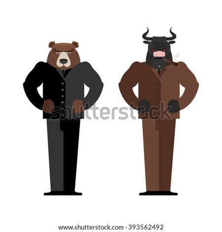 Bull Businessman. Bear Businessman. Bulls and bears traders on stock market. Business Office suit. Confrontation between traders in securities market