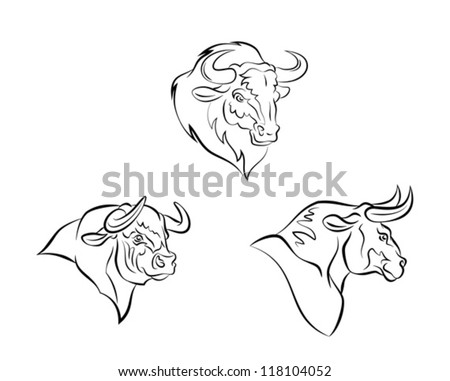 Bull head - stock vector