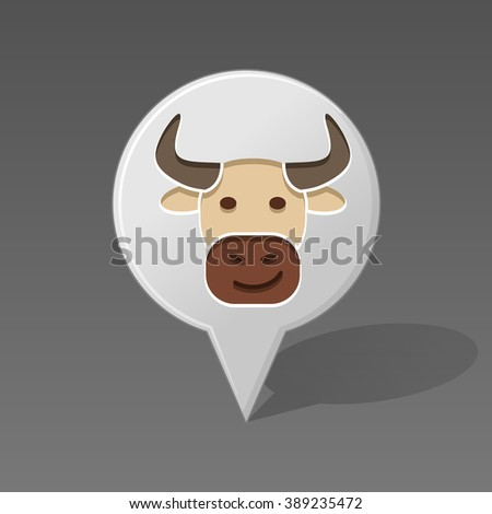 Bull pin map icon. Map pointer. Map markers. Animal head vector illustration, eps 10