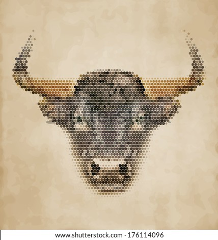 Bull portrait made of geometrical shapes - Vintage Design - stock vector