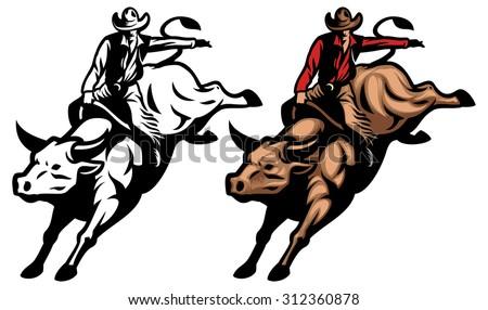 bull riding stock vector 312360878 shutterstock rh shutterstock com Rodeo Cowboy Clip Art free bull rider clip art