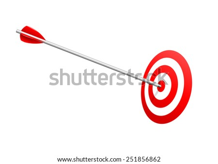 Bull�s eye arrow. Arrow on red target. Success and winning concept. - stock vector