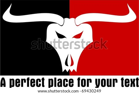 Bull skull emblem on red and black squares.
