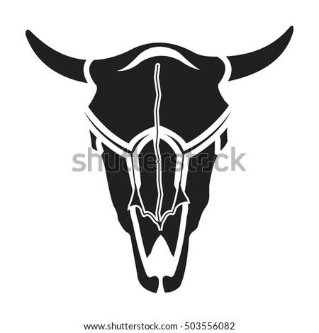 Bull Skull Icon Black Style Isolated Stock Vector 503556082