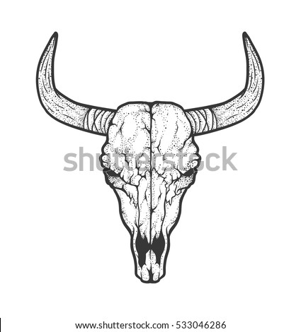 Cow skull on free deer head silhouette stencil