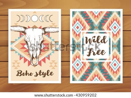 Bull skull with horns and native american, mexican ornament in red, turquoise and beige color; bohemian style vector illustration; hand drawn poster, postcard with boho chic, hipster design - stock vector