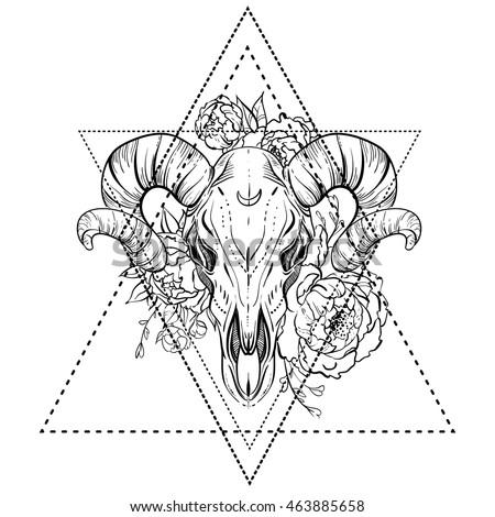 bull skull peony flower blackwork tattoo stock vector 463885658 shutterstock. Black Bedroom Furniture Sets. Home Design Ideas