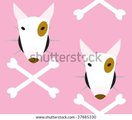 bull terrier pattern - stock vector