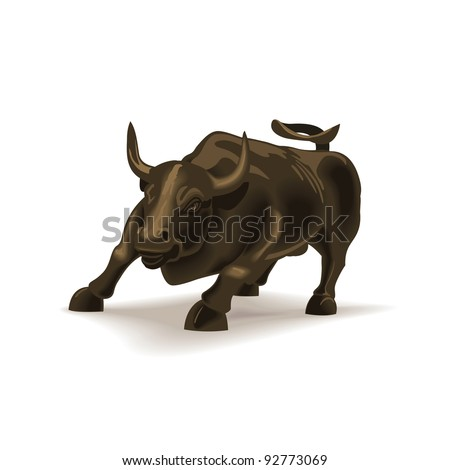 Bull vector illustration in color, financial theme ; isolated on background. - stock vector