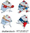Bulldog Cartoon style. Vector Collection.Jpeg version also available in gallery. - stock photo