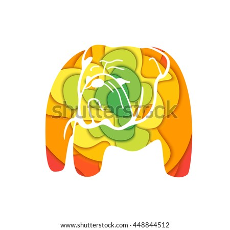 Bulldog colored silhouette. Vector concept design which can be used on print, cover or tattoo design.