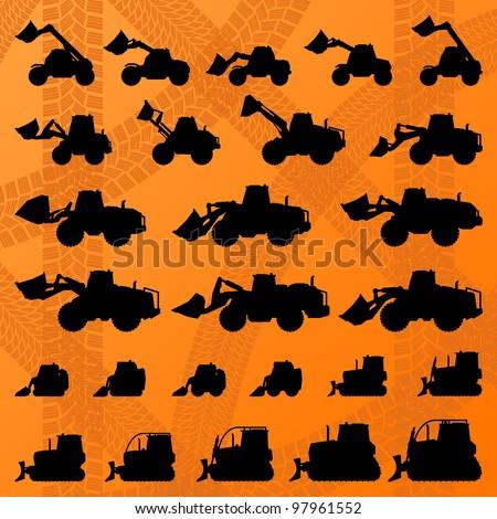 Bulldozer detailed editable silhouettes illustration collection background vector - stock vector