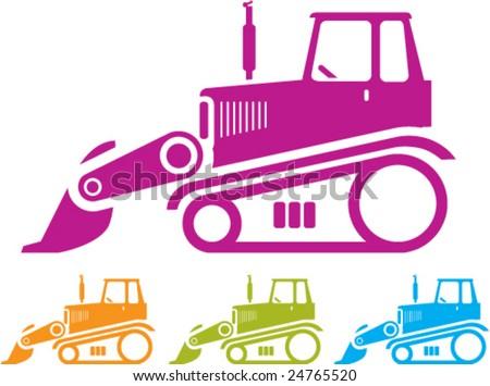Bulldozer Push Tractor - stock vector