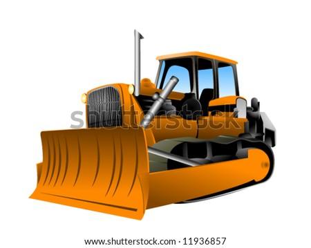 Bulldozer - Vector - stock vector