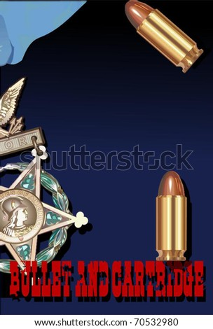 bullet and cartridge 1 vector, vector illustration - stock vector