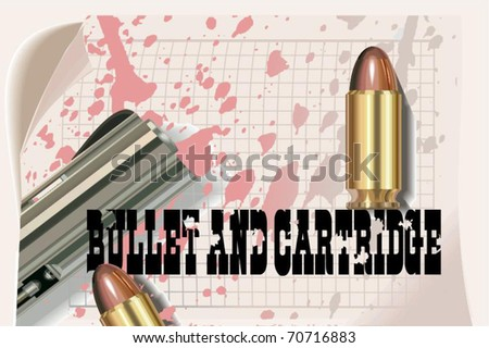 bullet and cartridge vector, vector illustration - stock vector
