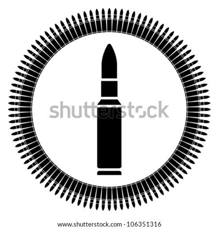 bullet (bullet belt, gun belts, machine guns bullets, automatic rifle bullets) - stock vector