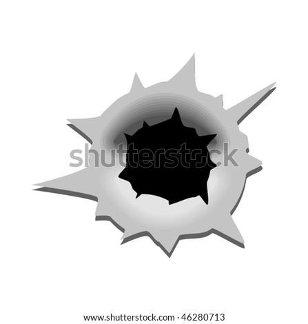 Bullet hole - stock vector