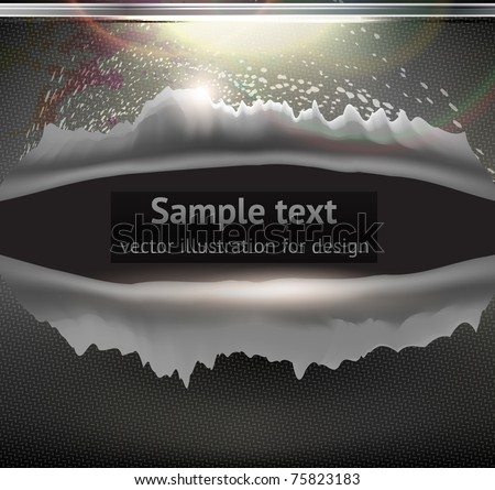 Bullet Hole and Slash at metal abstract background for techno design. Vector eps 10 - stock vector