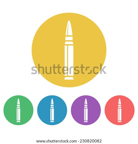 bullet machine set of colored vector icons - stock vector