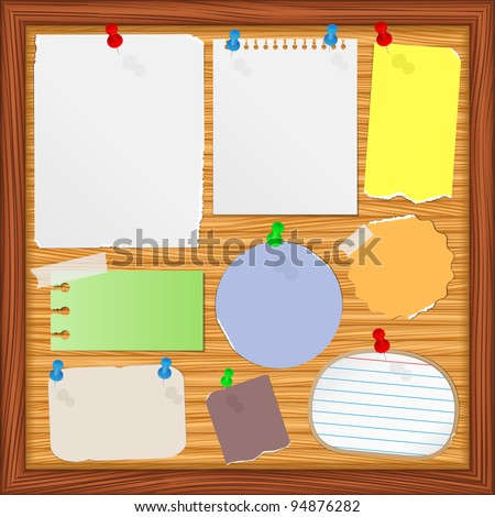 Bulletin board with old paper notes, vector eps10 illustration - stock vector