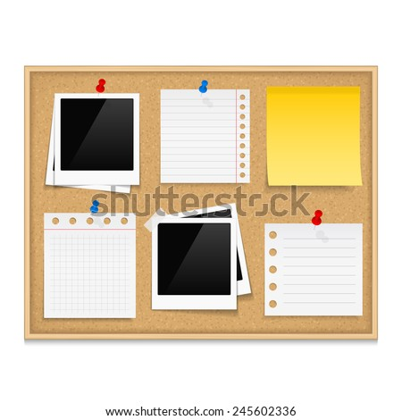 Bulletin board with photos and paper notes, vector eps10 illustration - stock vector