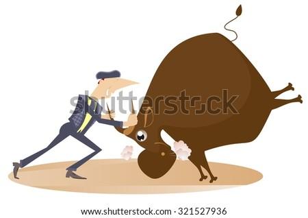 Bullfighter holds a bull by horns  - stock vector