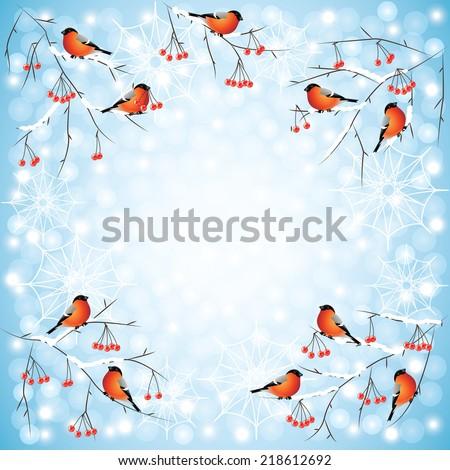 Bullfinch birds on rowan branches cute winter background - stock vector