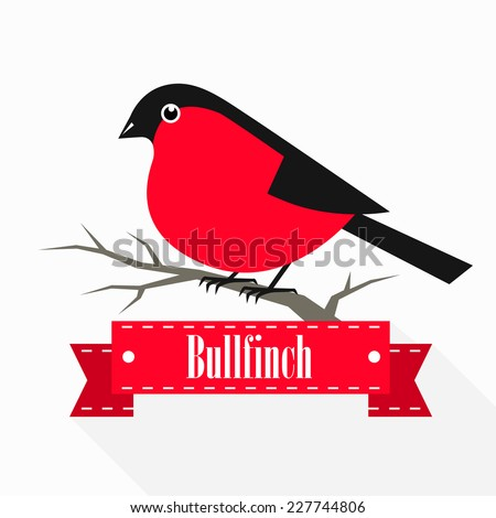 Bullfinch on a branch with a ribbon. Vector illustration. - stock vector