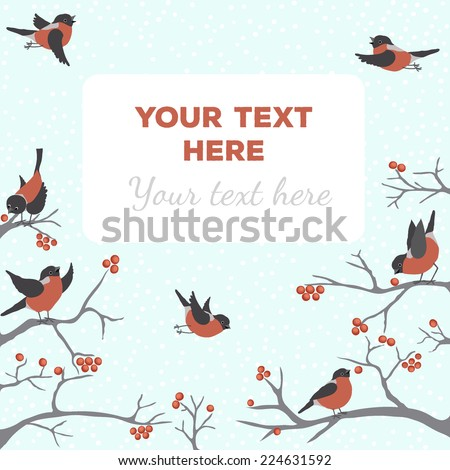 Bullfinches on the tree with text in blue
