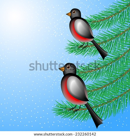 bullfinchs sit on the branches of fir-tree,  vector  illustration - stock vector