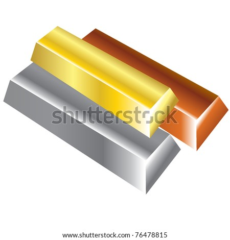 Bullions of precious metals. Vector Illustration. EPS8 - stock vector