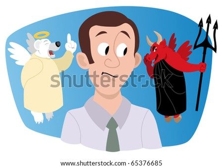 Bulls & Bears: A young investor/stock broker, receiving a bullish advice from a bull, looking much like a devil. A bear-angel is trying to warn him and protect him, but would he listen... - stock vector