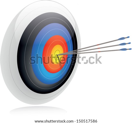 Bulls-eye. Three arrows in the center of an archery target to convey success and accuracy. To be on-target. - stock vector