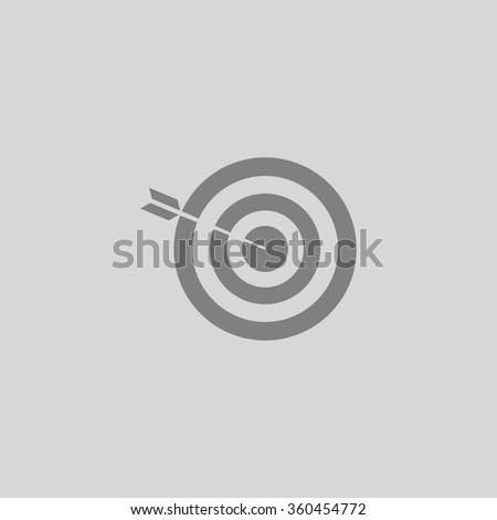 bullseye - Grey flat icon on gray background - stock vector