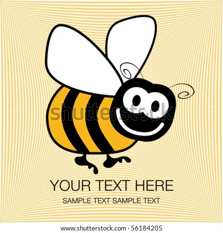 Bumble bee design with copy space. - stock vector