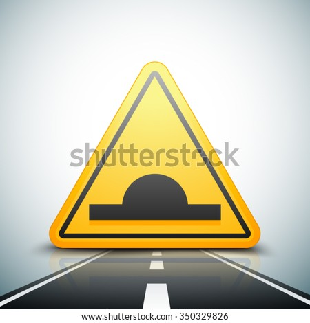 Bump warning traffic sign - stock vector
