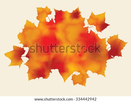 Bunch of abstract watercolor fall leaves  - stock vector