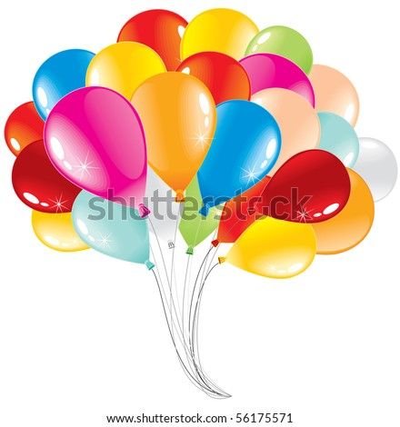 Bunch of anniversary balloons-vector illustration - stock vector
