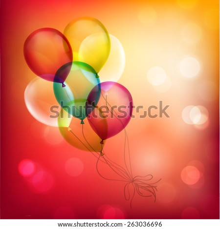 Bunch of balloons on colorful defocused background - eps10 - stock vector