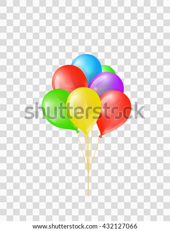 Bunch of colored transparent balloons on chequered background - stock vector
